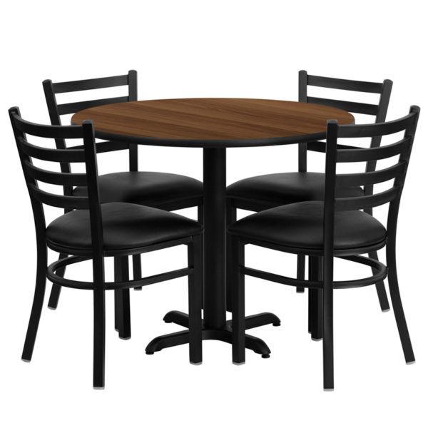 Lowest Price 36'' Round Walnut Laminate Table Set with X-Base and 4 Ladder Back Metal Chairs - Black Vinyl Seat