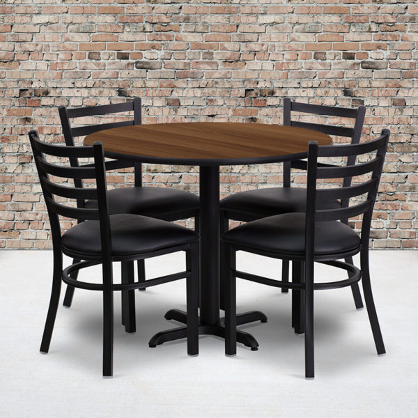 Wholesale 36'' Round Walnut Laminate Table Set with X-Base and 4 Ladder Back Metal Chairs - Black Vinyl Seat