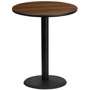 Wholesale 36'' Round Walnut Laminate Table Top with 24'' Round Bar Height Table Base