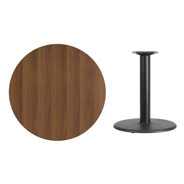 Lowest Price 36'' Round Walnut Laminate Table Top with 24'' Round Table Height Base