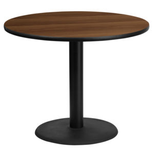Wholesale 36'' Round Walnut Laminate Table Top with 24'' Round Table Height Base