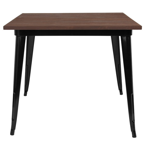 """Lowest Price 36"""" Square Black Metal Indoor Table with Walnut Rustic Wood Top"""