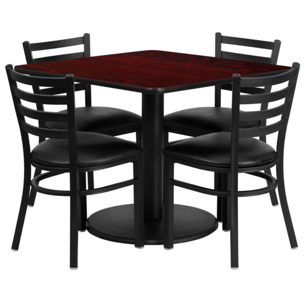 Lowest Price 36'' Square Mahogany Laminate Table Set with Round Base and 4 Ladder Back Metal Chairs - Black Vinyl Seat