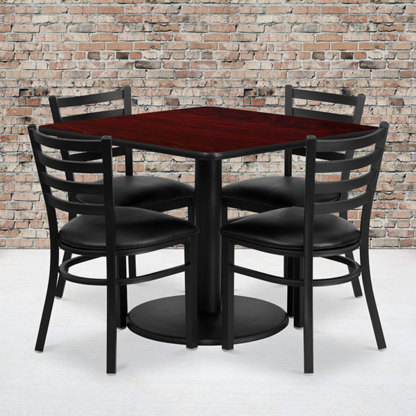 Wholesale 36'' Square Mahogany Laminate Table Set with Round Base and 4 Ladder Back Metal Chairs - Black Vinyl Seat