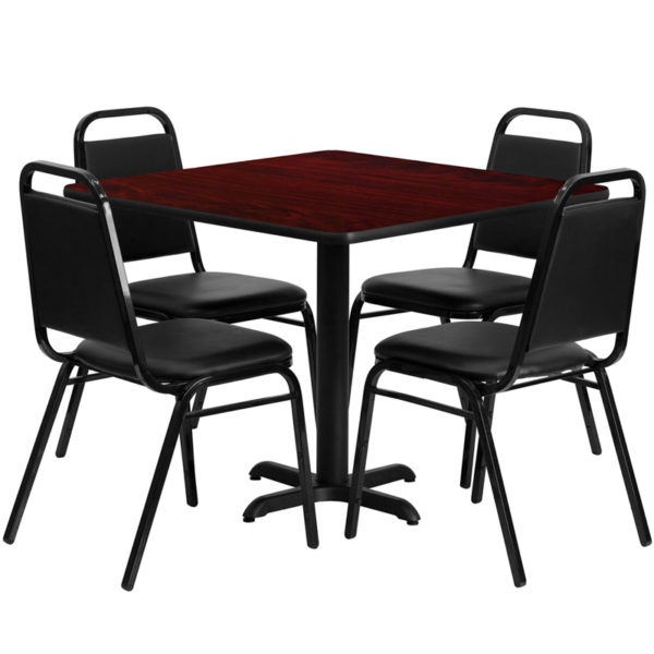 Lowest Price 36'' Square Mahogany Laminate Table Set with X-Base and 4 Black Trapezoidal Back Banquet Chairs