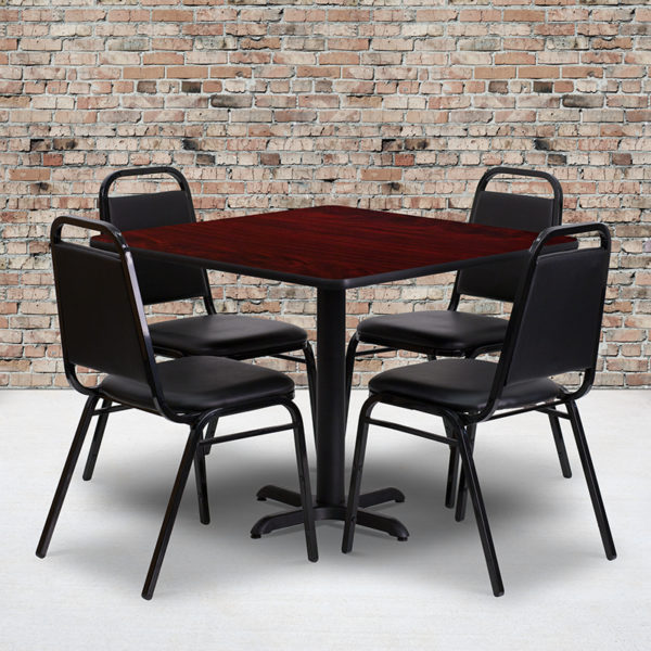 Wholesale 36'' Square Mahogany Laminate Table Set with X-Base and 4 Black Trapezoidal Back Banquet Chairs