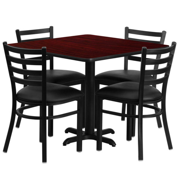 Lowest Price 36'' Square Mahogany Laminate Table Set with X-Base and 4 Ladder Back Metal Chairs - Black Vinyl Seat