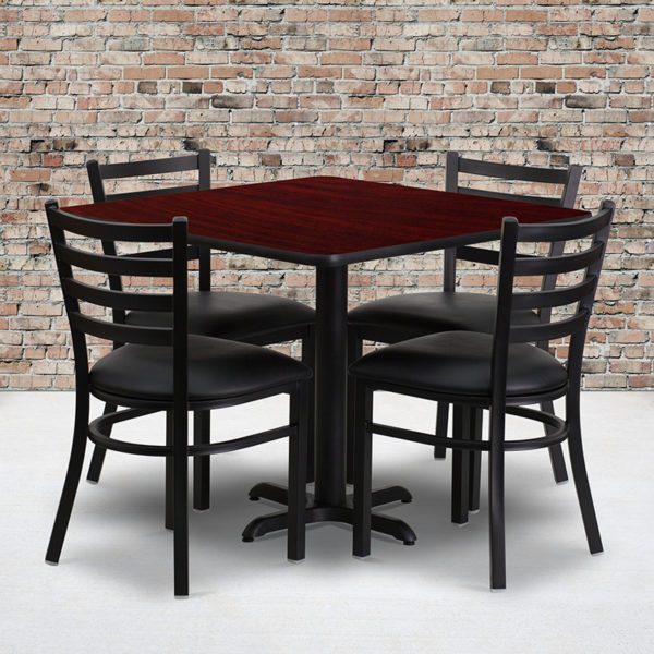 Wholesale 36'' Square Mahogany Laminate Table Set with X-Base and 4 Ladder Back Metal Chairs - Black Vinyl Seat