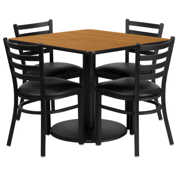 Lowest Price 36'' Square Natural Laminate Table Set with Round Base and 4 Ladder Back Metal Chairs - Black Vinyl Seat