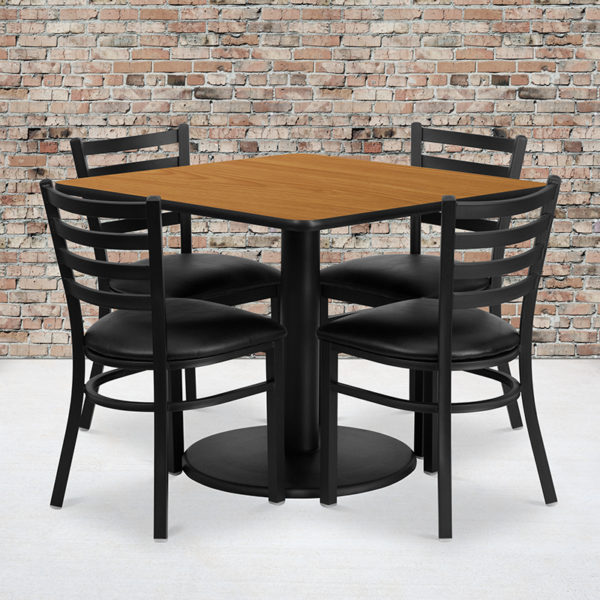 Wholesale 36'' Square Natural Laminate Table Set with Round Base and 4 Ladder Back Metal Chairs - Black Vinyl Seat