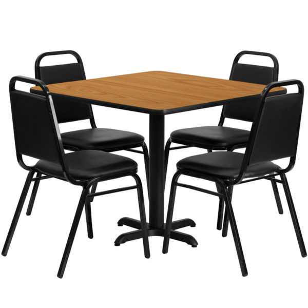 Lowest Price 36'' Square Natural Laminate Table Set with X-Base and 4 Black Trapezoidal Back Banquet Chairs