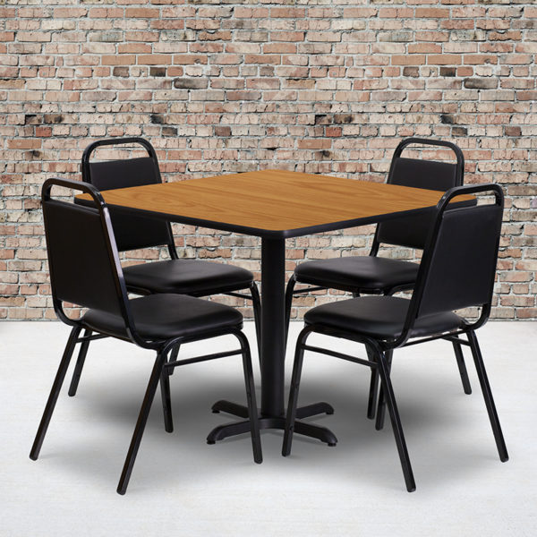Wholesale 36'' Square Natural Laminate Table Set with X-Base and 4 Black Trapezoidal Back Banquet Chairs