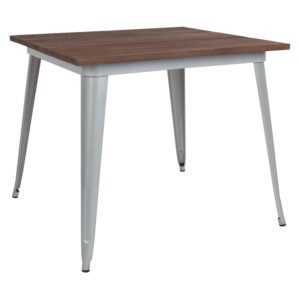 """Wholesale 36"""" Square Silver Metal Indoor Table with Walnut Rustic Wood Top"""