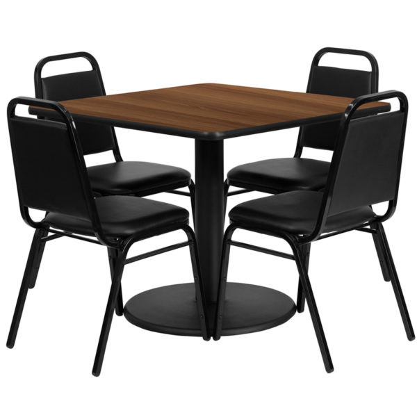Lowest Price 36'' Square Walnut Laminate Table Set with Round Base and 4 Black Trapezoidal Back Banquet Chairs
