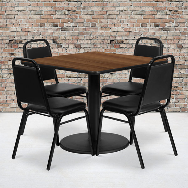 Wholesale 36'' Square Walnut Laminate Table Set with Round Base and 4 Black Trapezoidal Back Banquet Chairs