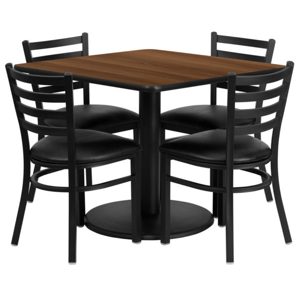 Lowest Price 36'' Square Walnut Laminate Table Set with Round Base and 4 Ladder Back Metal Chairs - Black Vinyl Seat