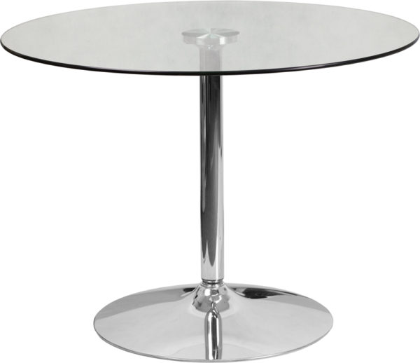 Wholesale 39.25'' Round Glass Table with 29''H Chrome Base