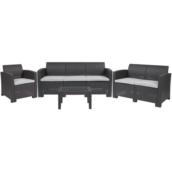 Sofa and Table Set in Dark Gray