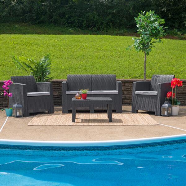 Wholesale 4 Piece Outdoor Faux Rattan Chair