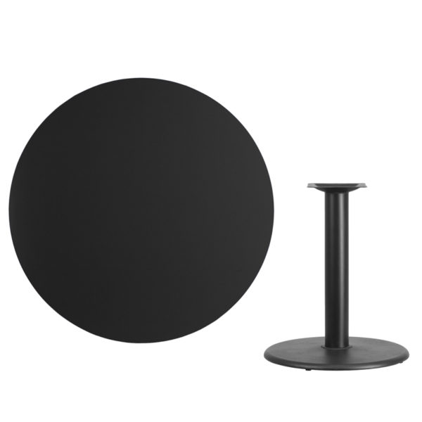 Lowest Price 42'' Round Black Laminate Table Top with 24'' Round Table Height Base