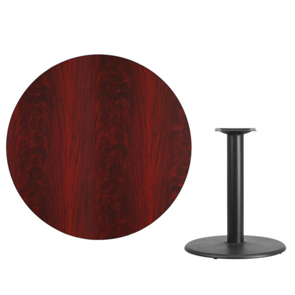 Lowest Price 42'' Round Mahogany Laminate Table Top with 24'' Round Table Height Base
