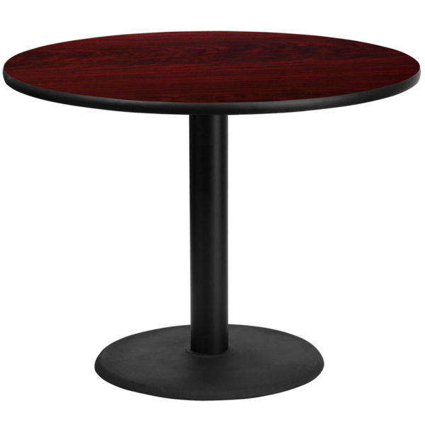 Wholesale 42'' Round Mahogany Laminate Table Top with 24'' Round Table Height Base