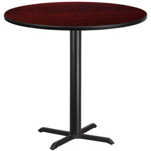 Wholesale 42'' Round Mahogany Laminate Table Top with 33'' x 33'' Bar Height Table Base