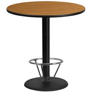 Wholesale 42'' Round Natural Laminate Table Top with 24'' Round Bar Height Table Base and Foot Ring