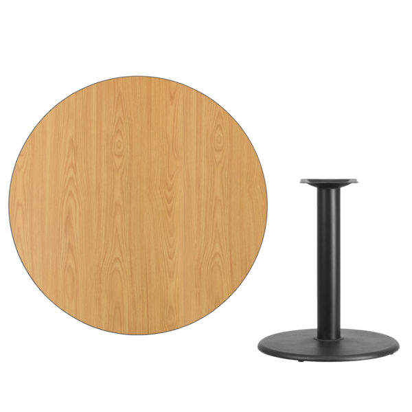 Lowest Price 42'' Round Natural Laminate Table Top with 24'' Round Table Height Base