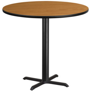 Wholesale 42'' Round Natural Laminate Table Top with 33'' x 33'' Bar Height Table Base