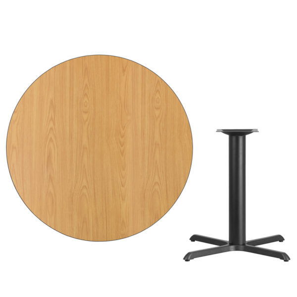 Lowest Price 42'' Round Natural Laminate Table Top with 33'' x 33'' Table Height Base