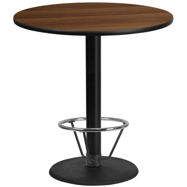 Wholesale 42'' Round Walnut Laminate Table Top with 24'' Round Bar Height Table Base and Foot Ring