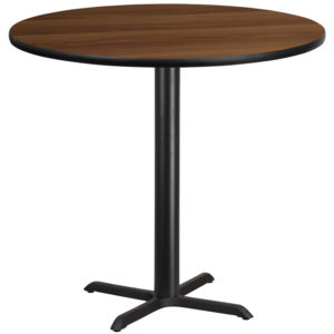 Wholesale 42'' Round Walnut Laminate Table Top with 33'' x 33'' Bar Height Table Base