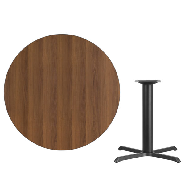 Lowest Price 42'' Round Walnut Laminate Table Top with 33'' x 33'' Table Height Base