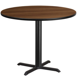 Wholesale 42'' Round Walnut Laminate Table Top with 33'' x 33'' Table Height Base