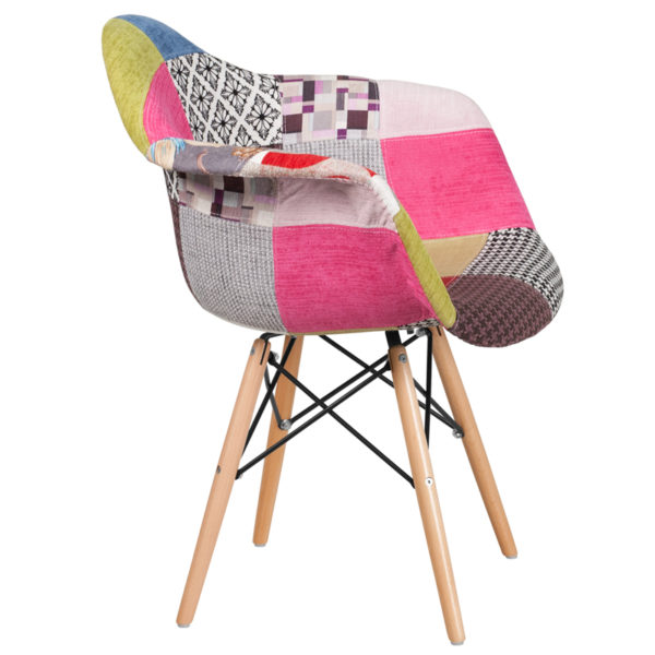 Lowest Price Alonza Series Milan Patchwork Fabric Chair with Wooden Legs