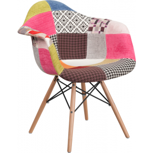 Wholesale Alonza Series Milan Patchwork Fabric Chair with Wooden Legs