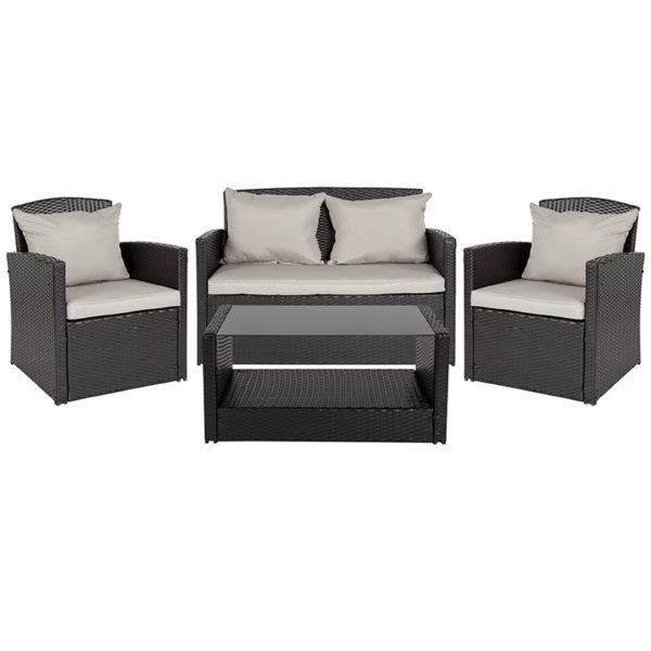 Lowest Price Aransas Series 4 Piece Black Patio Set with Gray Back Pillows and Seat Cushions