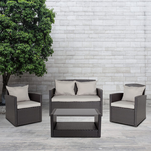 Wholesale Aransas Series 4 Piece Black Patio Set with Gray Back Pillows and Seat Cushions