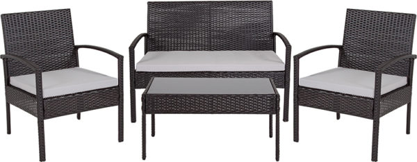 Lowest Price Aransas Series 4 Piece Black Patio Set with Steel Frame and Gray Cushions