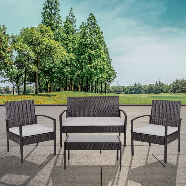 Wholesale Aransas Series 4 Piece Black Patio Set with Steel Frame and Gray Cushions