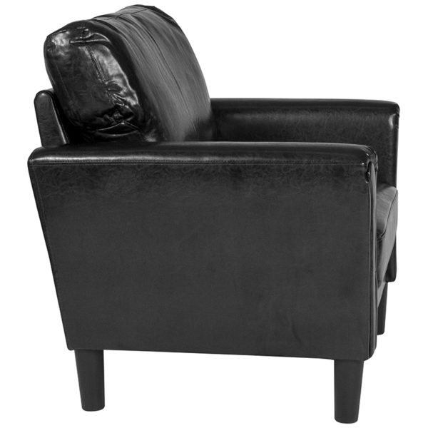 Lowest Price Bari Upholstered Chair in Black Leather