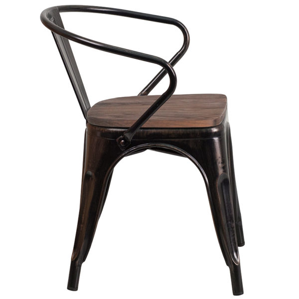 Lowest Price Black-Antique Gold Metal Chair with Wood Seat and Arms