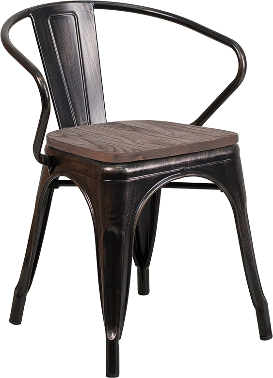 Wholesale Black-Antique Gold Metal Chair with Wood Seat and Arms