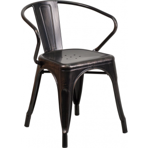 Wholesale Black-Antique Gold Metal Indoor-Outdoor Chair with Arms