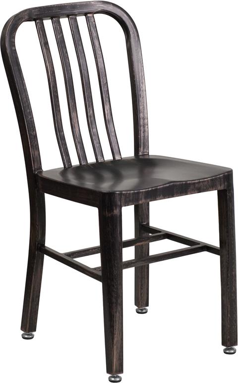 Wholesale Black-Antique Gold Metal Indoor-Outdoor Chair