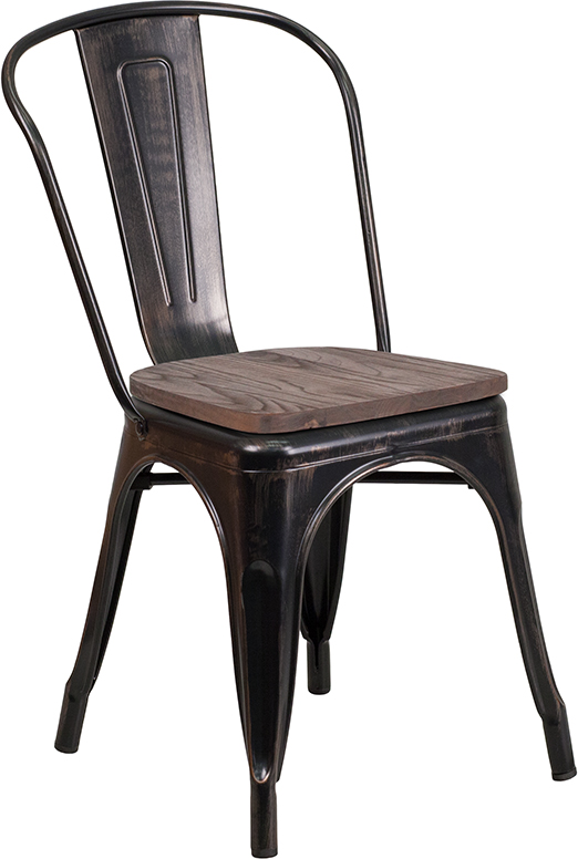 Wholesale Black-Antique Gold Metal Stackable Chair with Wood Seat