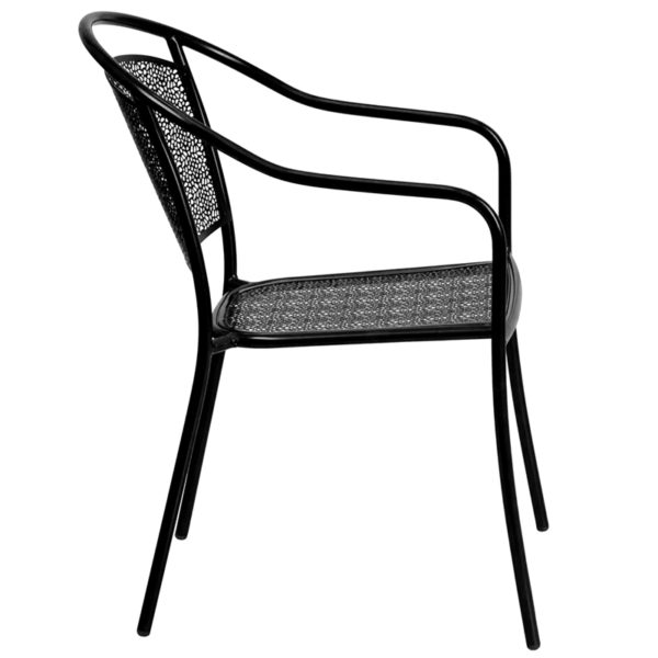 Lowest Price Black Indoor-Outdoor Steel Patio Arm Chair with Round Back