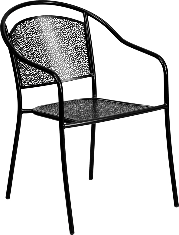 Wholesale Black Indoor-Outdoor Steel Patio Arm Chair with Round Back