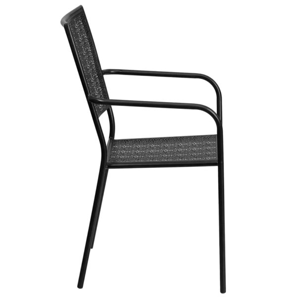 Lowest Price Black Indoor-Outdoor Steel Patio Arm Chair with Square Back